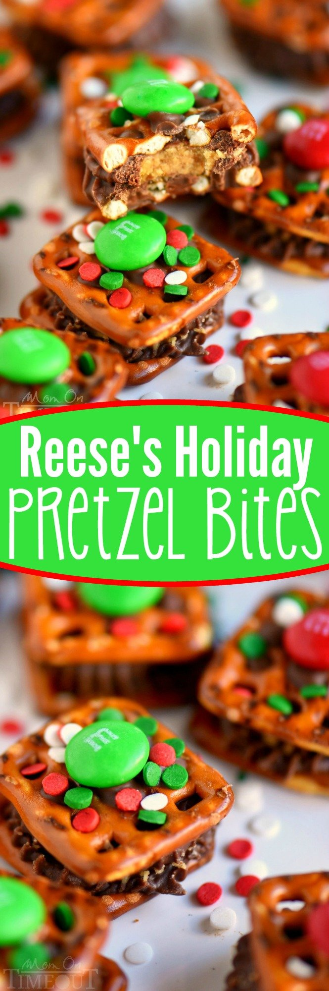 These Reese's Holiday Pretzel Bites need to make it onto your baking list this year! This recipe is so easy, your kids can totally make them for you. Sweet and salty and totally festive - no one will be able to resist these little treats!