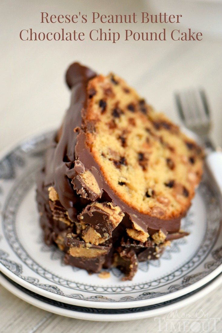 My new favorite cake! This amazingly easy and outrageously decadent Reese's Peanut Butter Chocolate Chip Pound Cake is a dream come true! So moist and delicious and topped with an incredible peanut butter chocolate glaze - no one will be able to resist! #ad