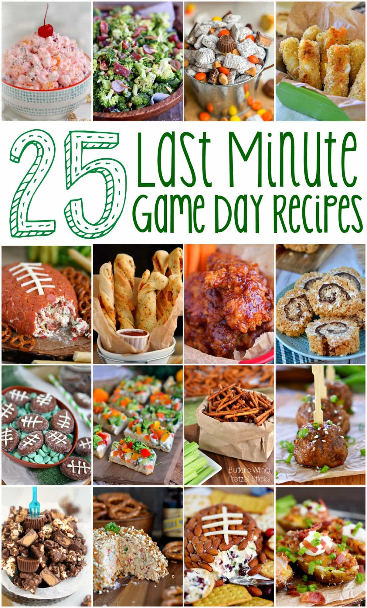 For those of you who procrastinate like I do...25 Last Minute Game Day Recipes that require minimal ingredients and time! Sweets, savory, snacks - you'll find it all here!