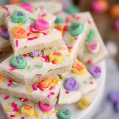 Conversation Heart Sugar Cookie Bark