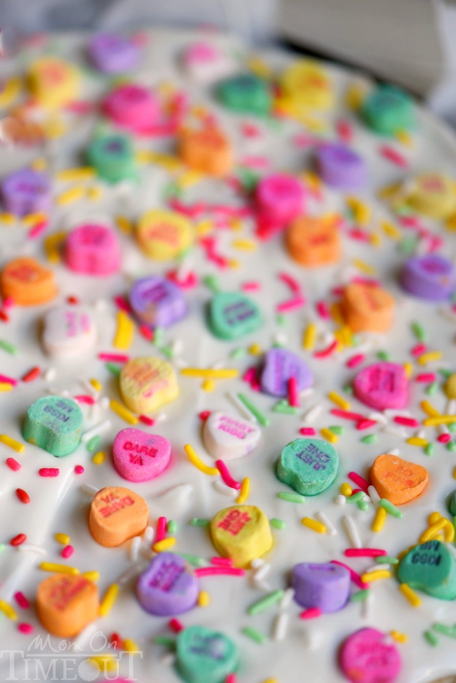 This Conversation Heart Sugar Cookie Bark is too fun and easy not to make! Less than 30 minutes from start to finish and just FOUR ingredients! Perfect for classroom and office parties!