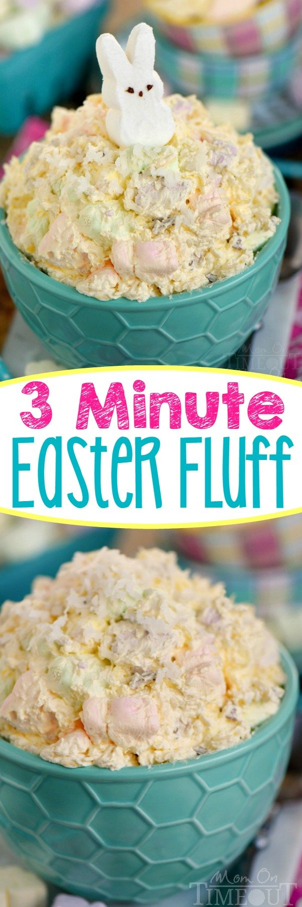 This easy dump and go, one-bowl Three Minute Easter Fluff is the perfect addition to your Easter festivities! A delicious dessert salad that everyone will enjoy! The pretty pastel colors make it perfect for baby showers too! // Mom On Timeout