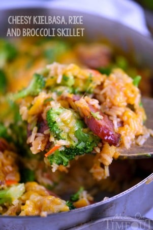cheesy-kielbasa-rice-broccoli-skillet