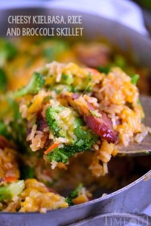 cheesy-kielbasa-rice-broccoli-skillet