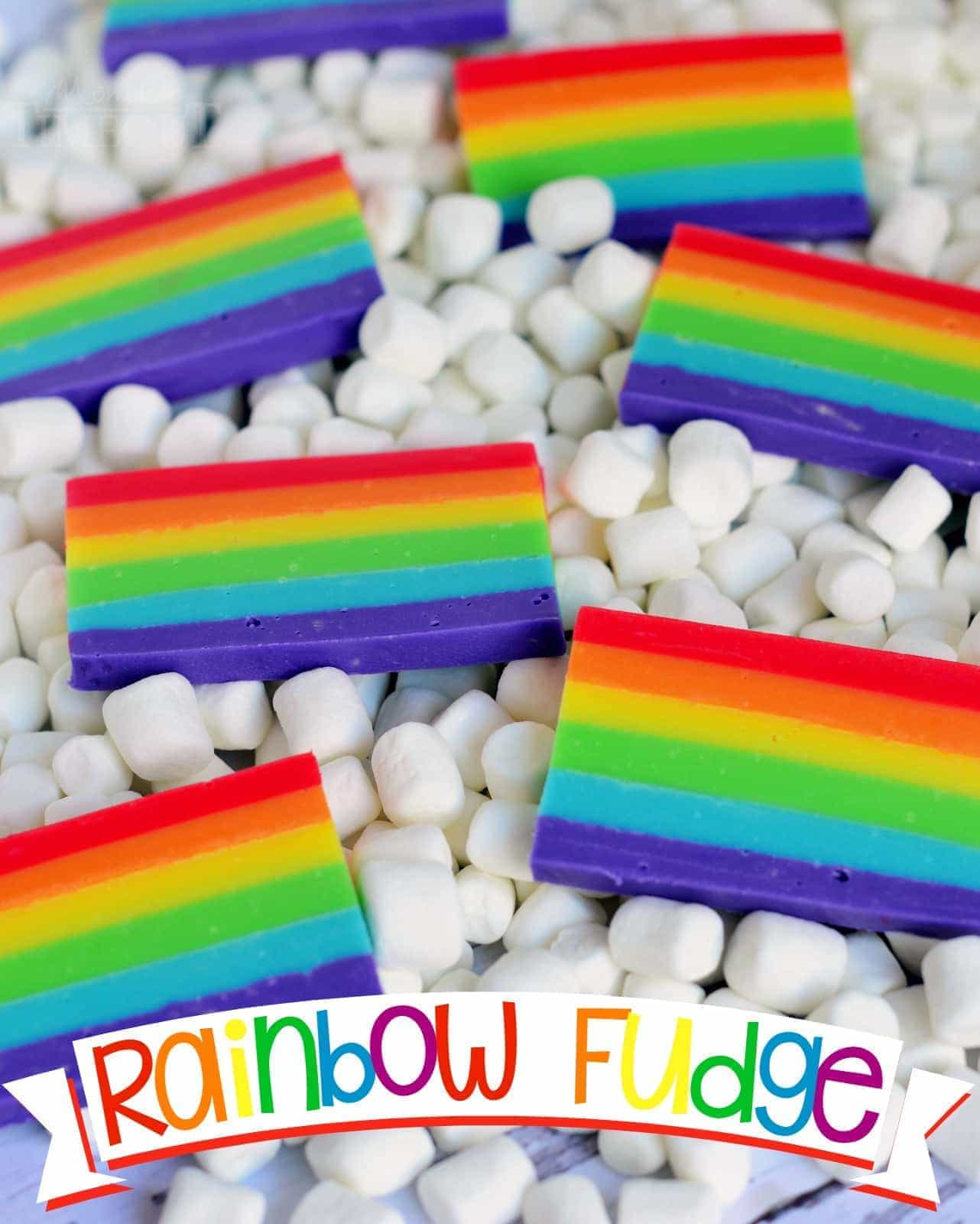 love how perfect this Easy Rainbow Fudge is for St. Patrick's Day, but it's also great for birthdays and for days when rainbows are a must. Best served on marshmallow clouds.