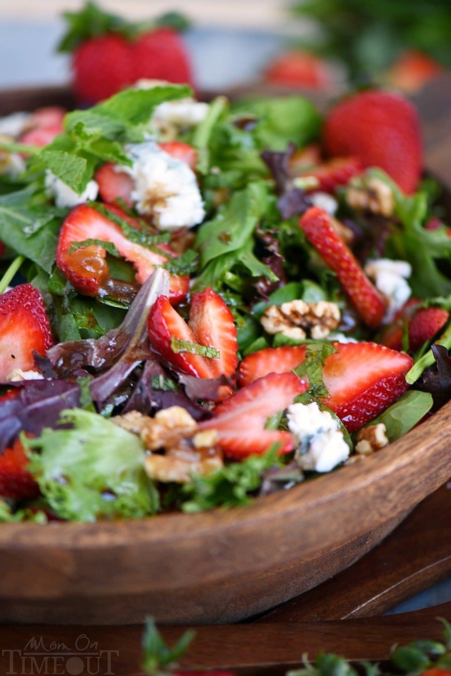 Feast your eyes on this stunning Strawberry Salad with Gorgonzola, Walnuts and Mint! It's a party in your mouth! The perfect summer salad that will keep you coming back again and again.