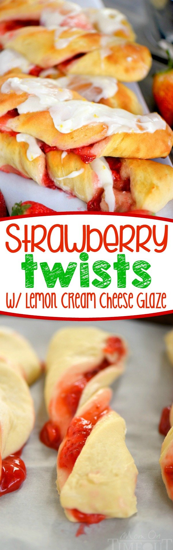 Strawberry Twists with Lemon Cream Cheese Glaze are sure to become your new favorite addition to Sunday brunch! A homemade strawberry filling makes these twists extra special and delicious and the lemon cream cheese glaze is going to knock your socks off! | Mom On Timeout