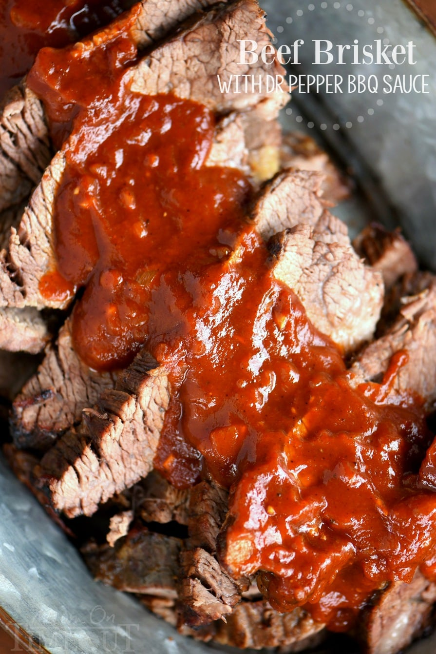 Beef Brisket with Dr Pepper Barbecue Sauce - Mom On Timeout