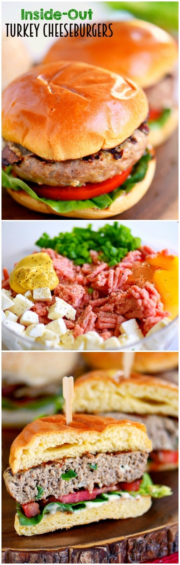 Fire up that grill and throw on these Inside Out Turkey Cheeseburgers! Loaded with flavor and filled with fresh mozzarella cheese, green onions, and Dijon mustard - these easy burgers are going to light up your 4th of July celebration!
