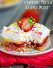 No Bake Strawberry Pretzel Layered Dessert