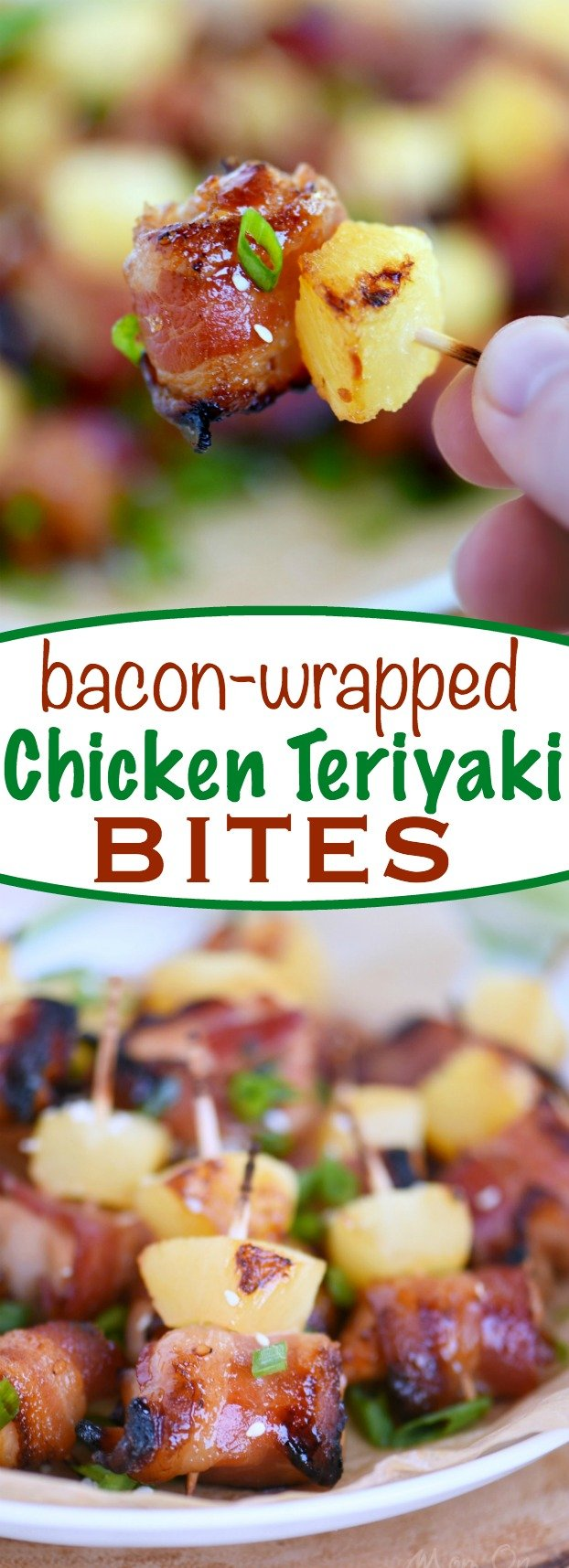 These Bacon Wrapped Chicken Teriyaki Bites are sure to be a huge hit on game day! Sweet and savory, packed full of flavor, and just 5 ingredients! Sure to be your new favorite appetizer! Score! | Mom On Timeout