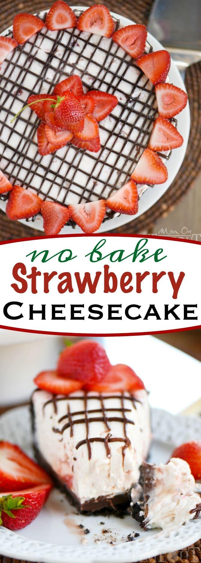 Strawberry No-Bake Cheesecake With Chocolate Crust Recipe — Dishmaps