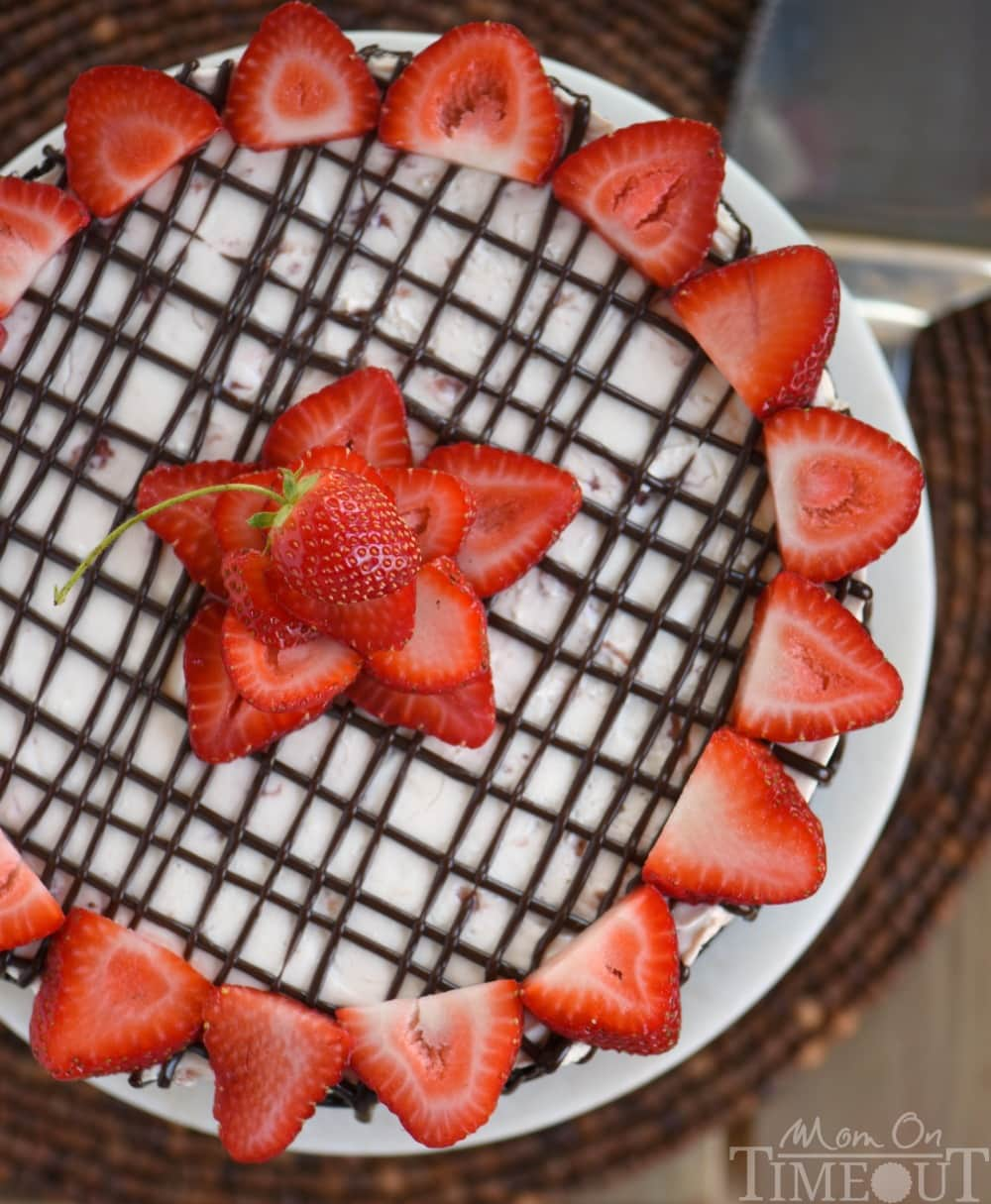 No Bake Strawberry Cheesecake comes complete with an OREO cookie crust ...