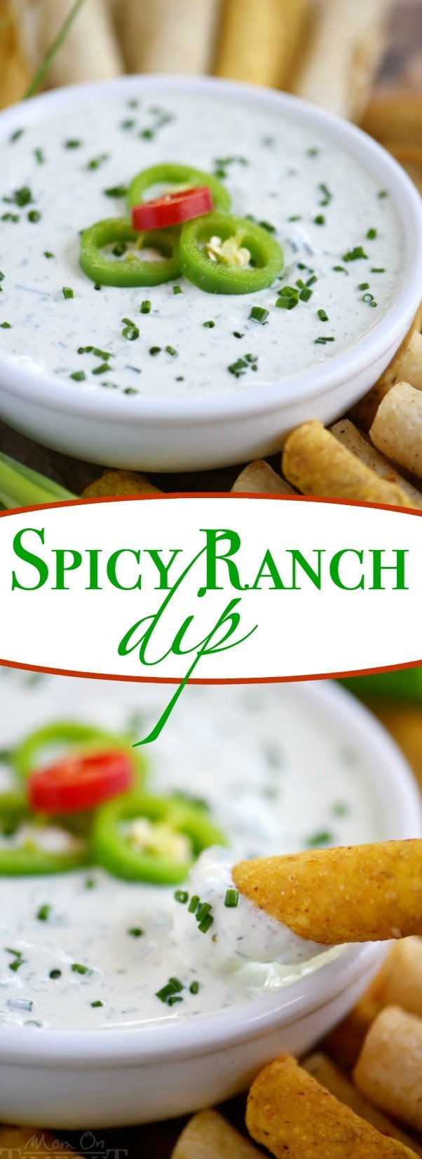 This easy Spicy Ranch Dip is made with Greek yogurt and lots of fresh ingredients for tremendous, bold flavor! Great for dipping all your favorite snacks! | Mom On Timeout