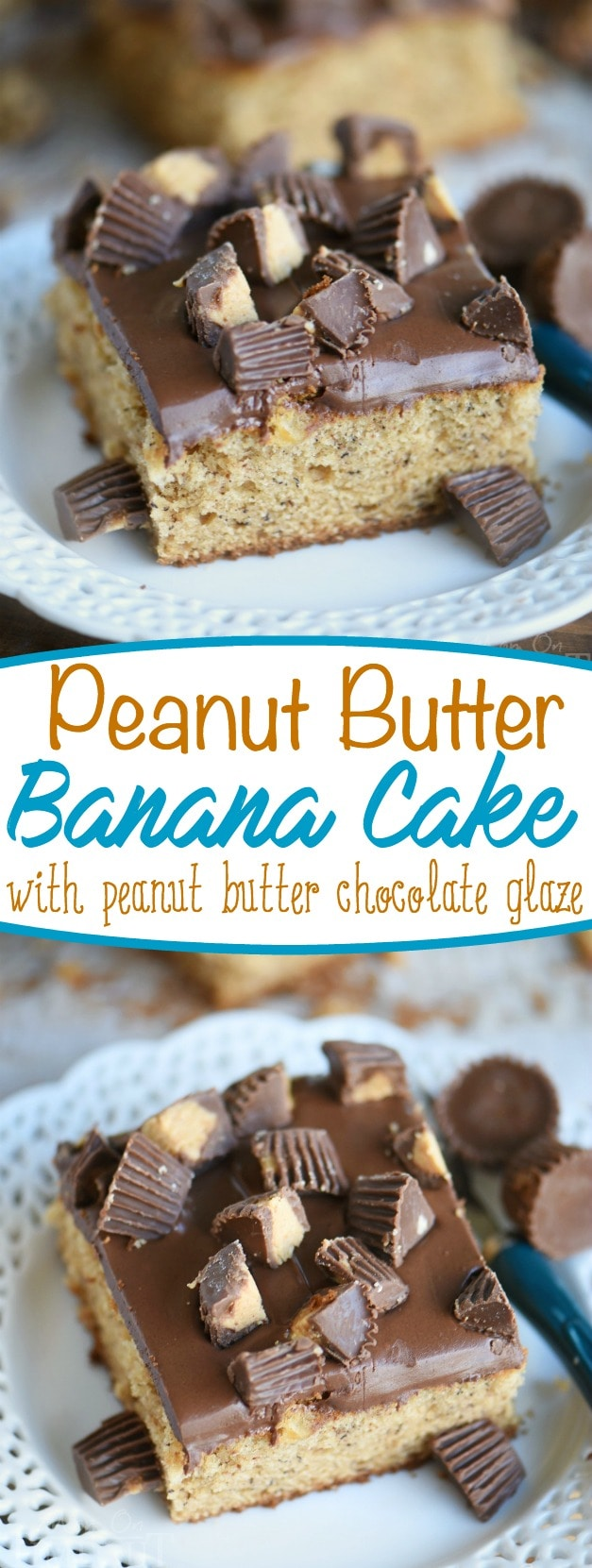 This easy Peanut Butter Banana Cake is topped with a peanut butter chocolate glaze and Reese's candy! An easy dessert that feeds a crowd! Great for parties and peanut butter lovers! // Mom On Timeout