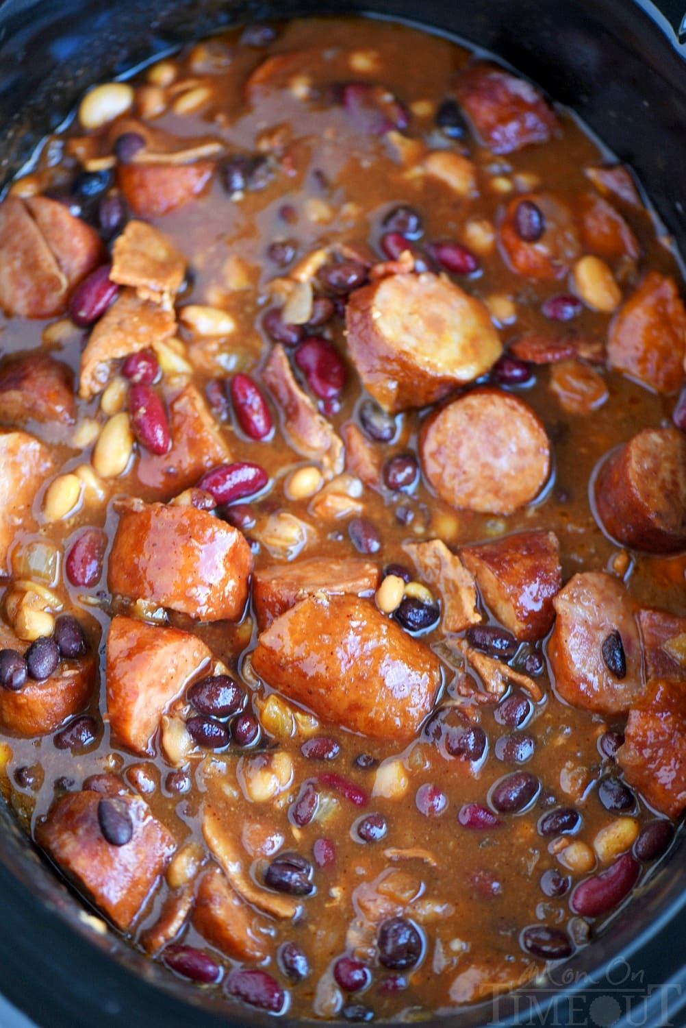 Slow Cooker Kielbasa and Barbecue Beans in crockopt