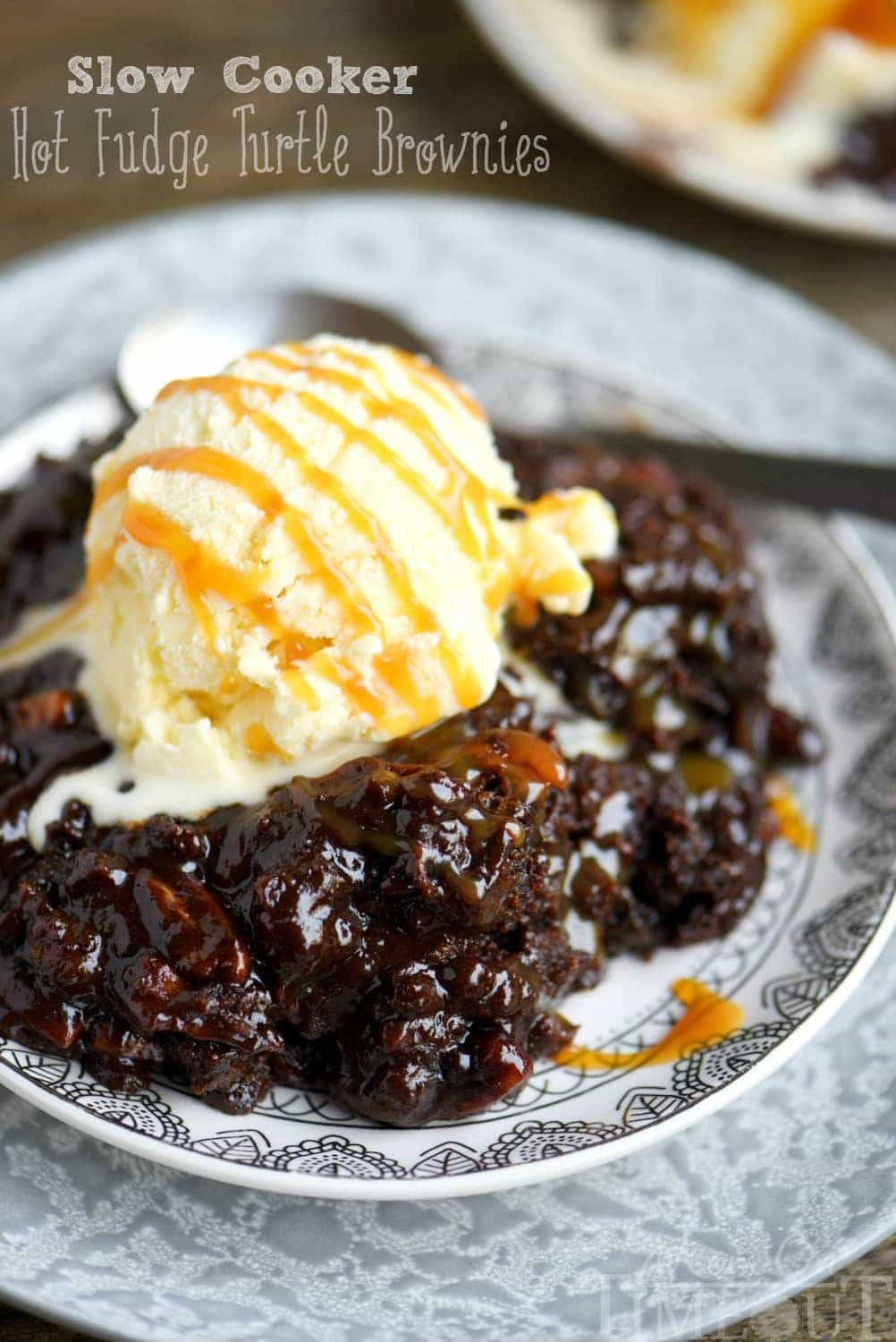 Slow Cooker Hot Fudge Turtle Brownies - Mom On Timeout