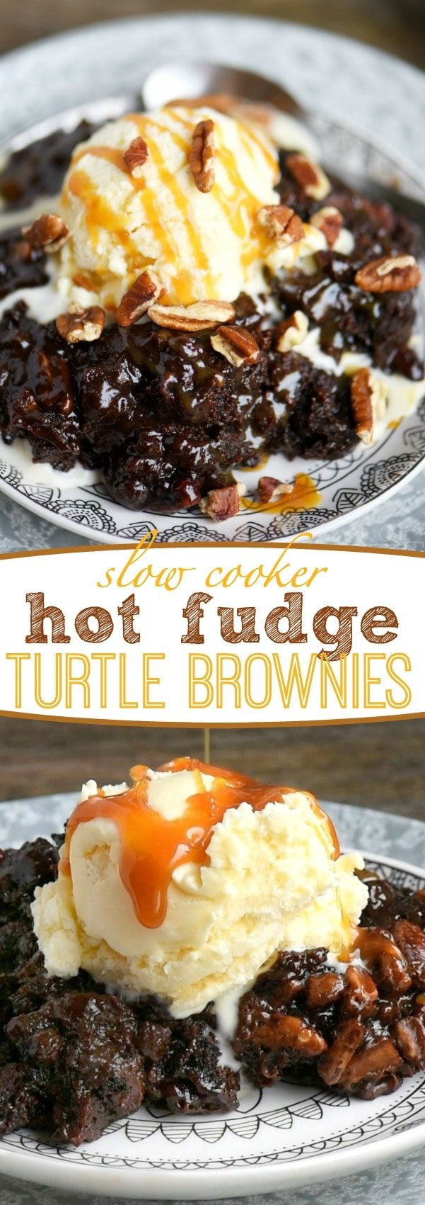 Fabulously gooey and outrageously delicious, these Slow Cooker Hot Fudge Turtle Brownies are going to rock your world! Hot fudge sauce, caramel, pecans, and gooey brownies come together for one irresistible dessert! // Mom On Timeout