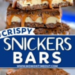 two image collage showing stacked snickers bars on marble board with the bottom image showing a bite taken out of top bar. center color block with text overlay.
