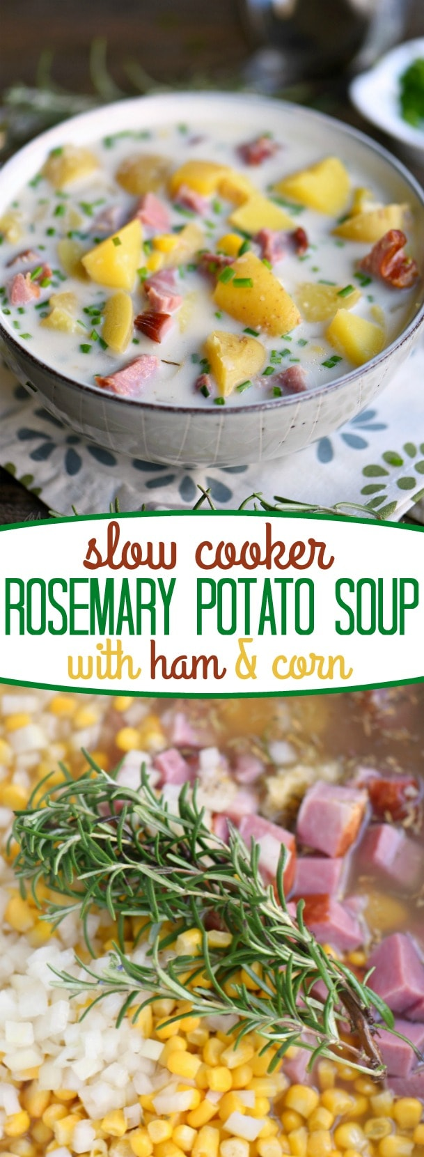 Love slow cooker recipes? This one is for you! This Slow Cooker Rosemary Potato Soup with Ham and Corn is all about filling your belly with goodness and warmth! Weeknight dinners have never tasted this good! // Mom On Timeout
