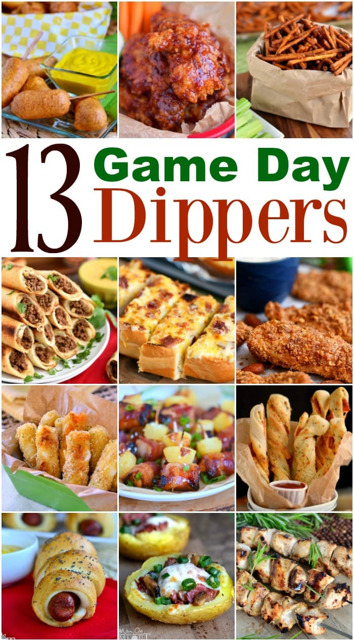 13 Game Day Dippers for the ULTIMATE game day experience! Chicken strips, pizza twists, mini corn dogs and so much more! Something for every one! // Mom On Timeout