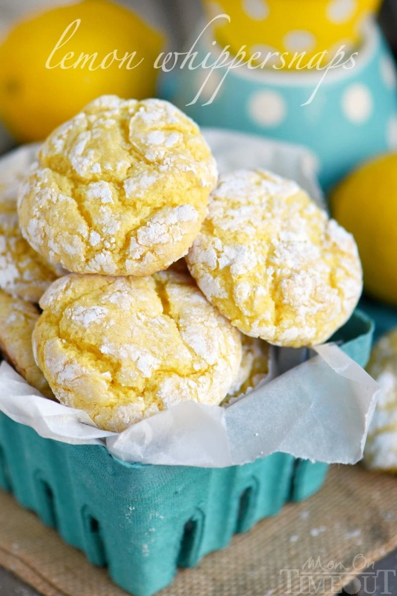lemon cookies in small green basket lined with parchment