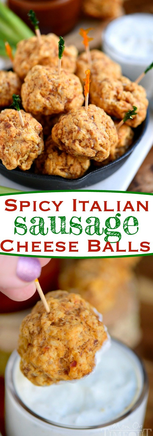 These Spicy Italian Sausage Cheese Balls are guaranteed to be a hit at your next party! So easy to make and perfect for game day! We like to dip them in ranch, bbq sauce, or marinara - so good! // Mom On Timeout