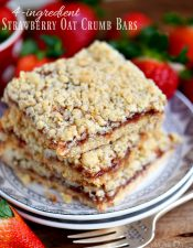 4 Ingredient Strawberry Oat Crumb Bars