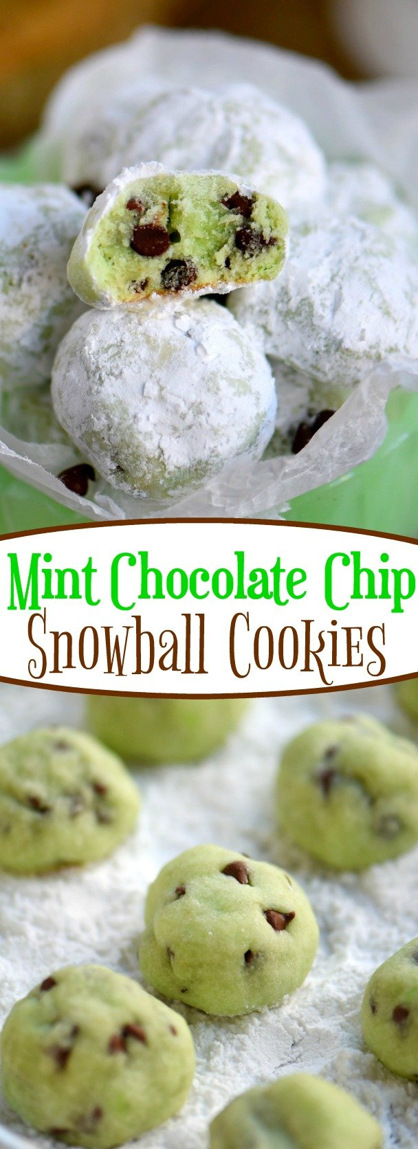 Mint Chocolate Chip Snowball Cookies - Mom On Timeout