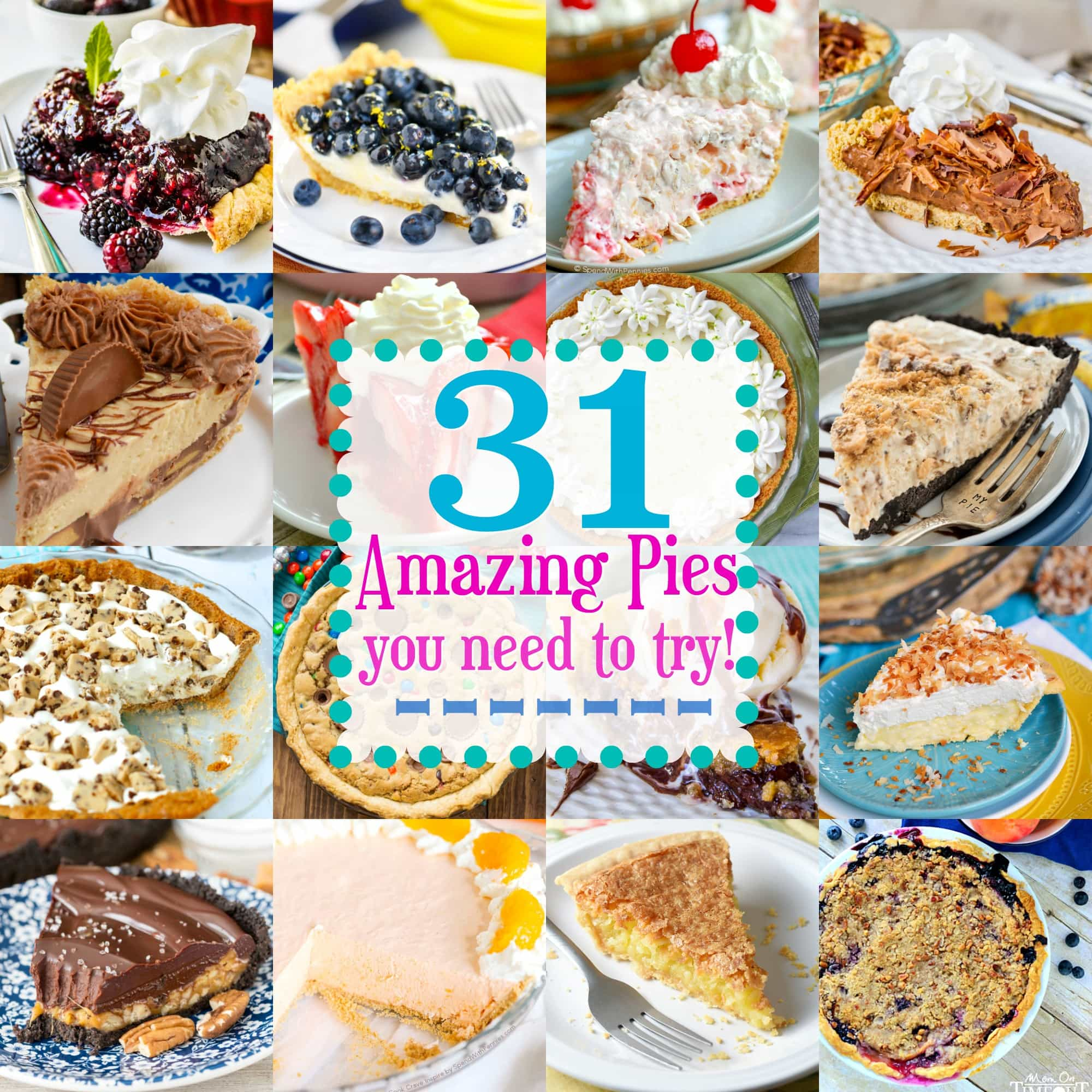 My love for pie is completely irrational! Celebrate Pi Day with one of these 31 Amazing Pies You Need to Try! Chocolate, berry, no bake - you'll find a pie for every occasion in this fantastic round up! // Mom On Timeout