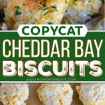 two image collage showing baked cheddar bay biscuits stacked in a wood bowl and the bottom image shows biscuits ready to be baked on a baking sheet. center color block with text overlay.