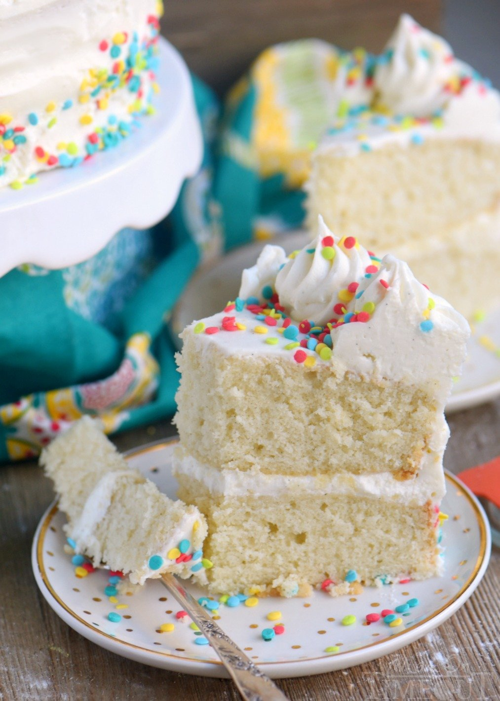 This Very Vanilla Cake is bursting with sweet vanilla flavor! Top with fresh fruit, sprinkles or white chocolate curls for a beautiful finish! Can be made dairy-free too! // Mom On Timeout