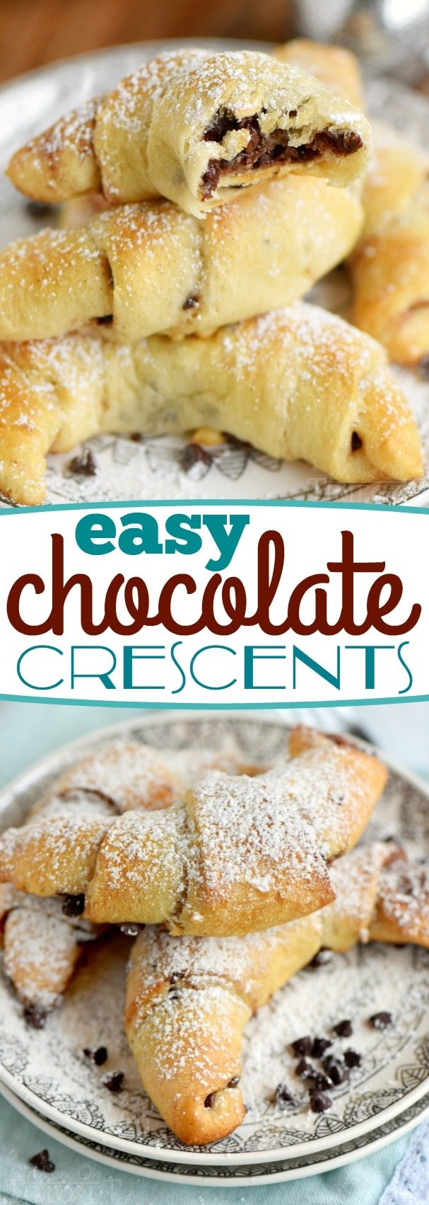 These Easy Chocolate Crescents take just minutes to prepare and use only 4 ingredients! Top with a sweet dusting of powdered sugar and you'll find them hard to resist. Great for breakfast, brunch, or dessert! // Mom On Timeout