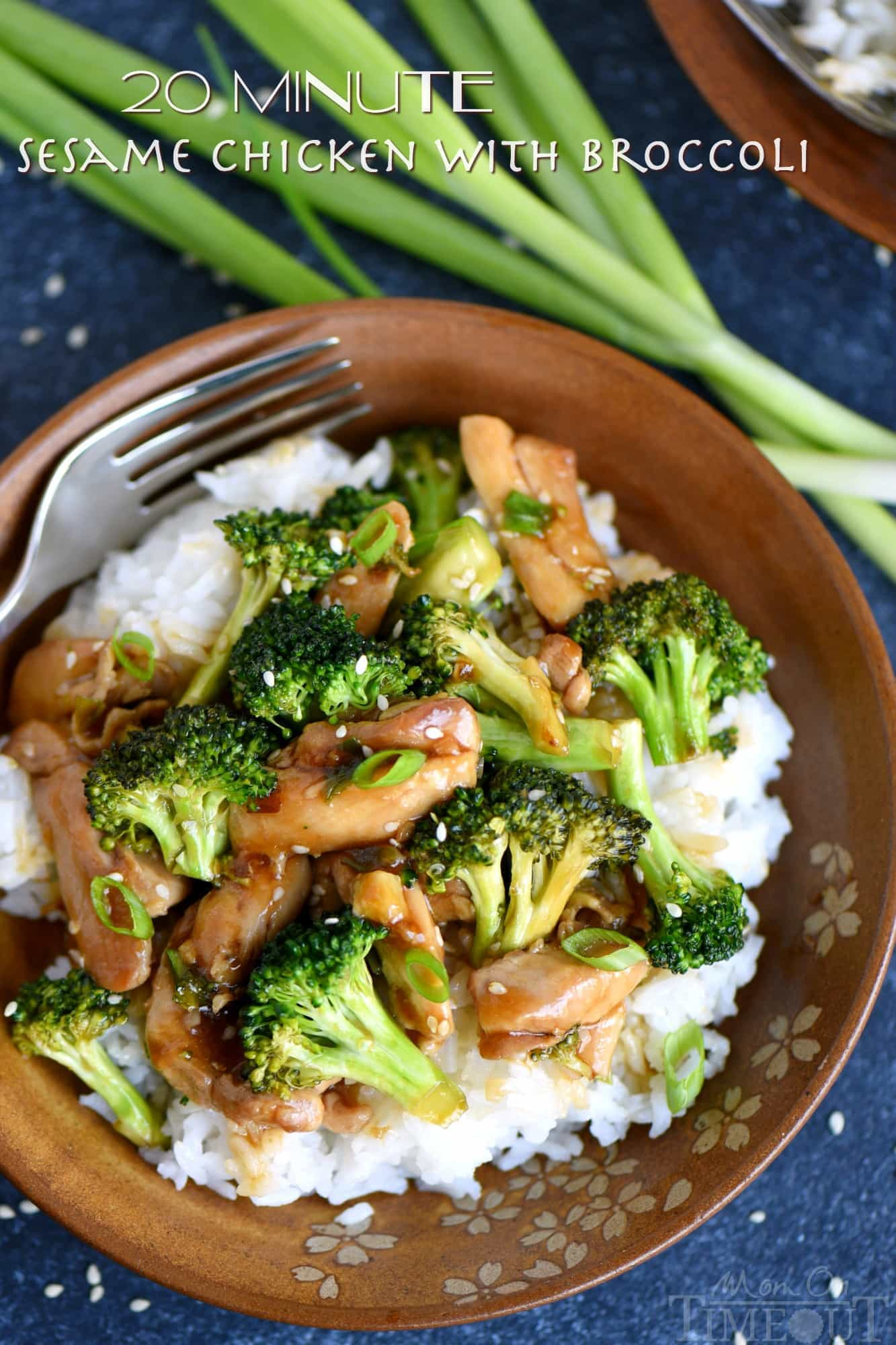 This easy 20 Minute Sesame Chicken with Broccoli is going to quickly become your favorite go-to easy dinner! Serve over white or brown rice for a perfect meal! So much better than takeout! // Mom On Timeout