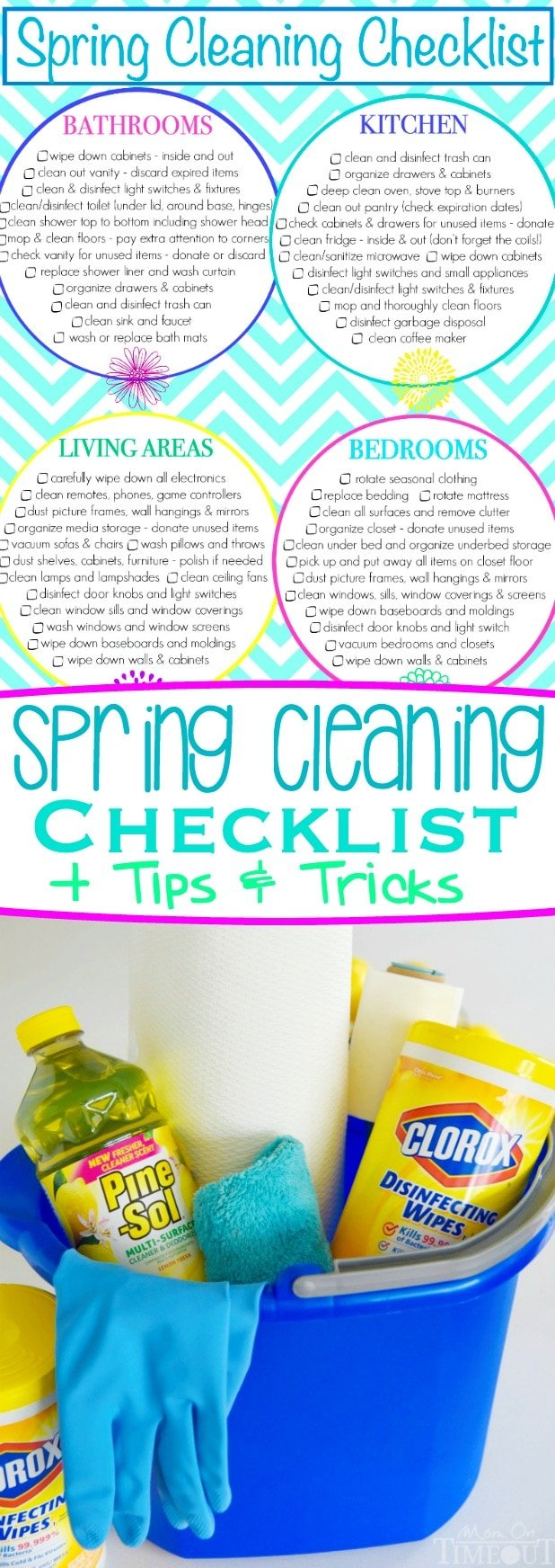 Get a jump start on spring cleaning this year with this printable Spring Cleaning Checklist! Plus I've got included my favorite tips and tricks that will have your home sparkling in no time! // Mom On Timeout