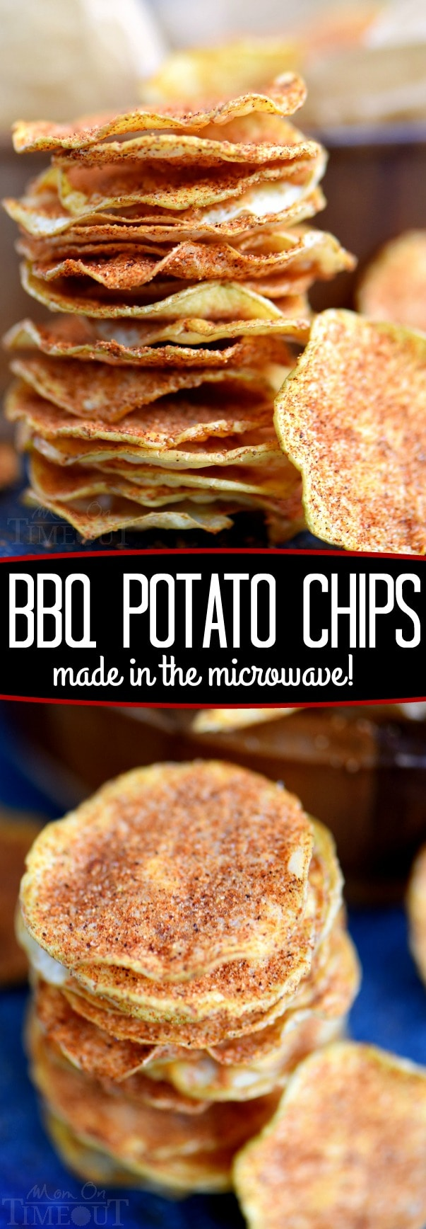 These Microwave BBQ Potato Chips are a cinch to make and are perfect for game day or snack time! A little sweet, a little salty, and a lot crunchy, these chips are sure to become your new favorite addiction! // Mom On Timeout