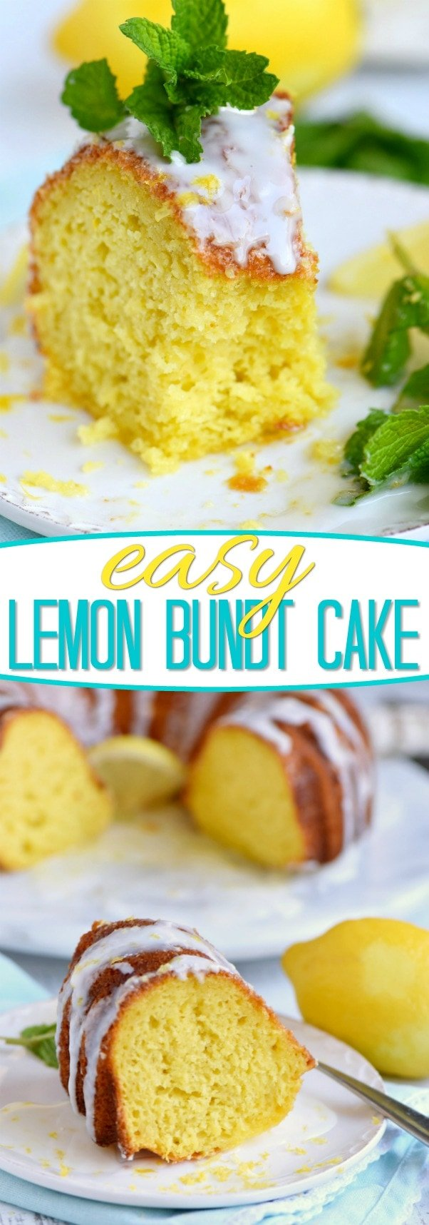 lemon bundt cake recipe topped with a lemon glaze