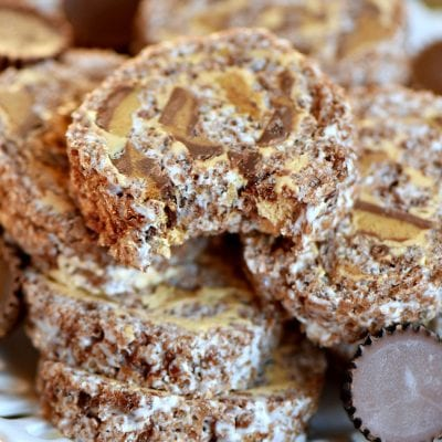 Peanut Butter Cup Rice Krispie Treats Pinwheels