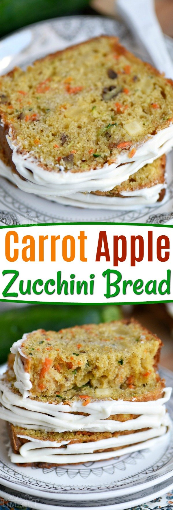 This Carrot Apple Zucchini Bread recipe is incredibly moist and flavorful! Vibrant colors from the carrot, apple, and zucchini makes this quick bread irresisitble!  Sure to be a new favorite! // Mom On Timeout