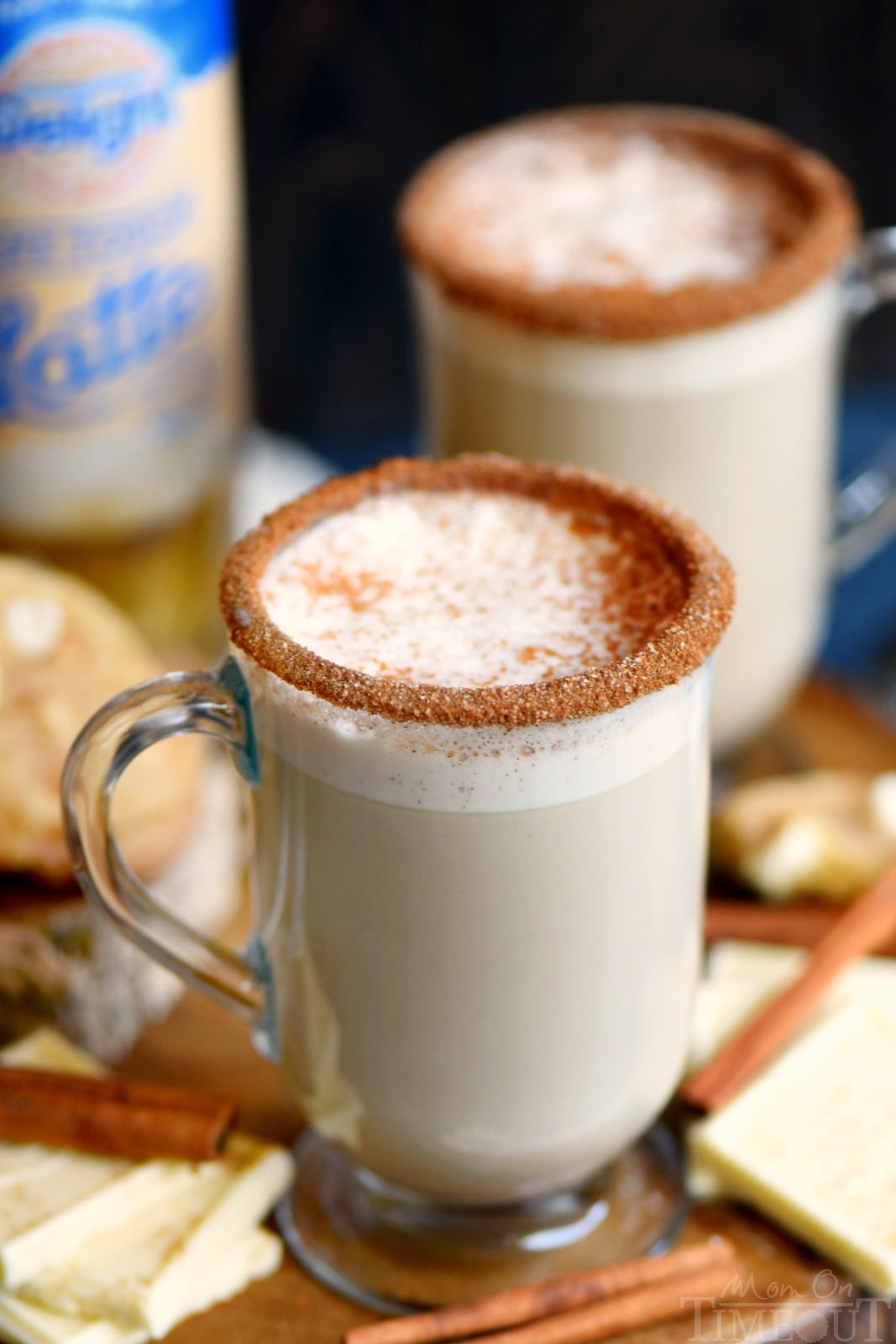This White Chocolate Snickerdoodle Latte will delight your taste buds and all from the convenience of your own home! Making your own coffeehouse style latte has never been easier or more delicious! // Mom On Timeout