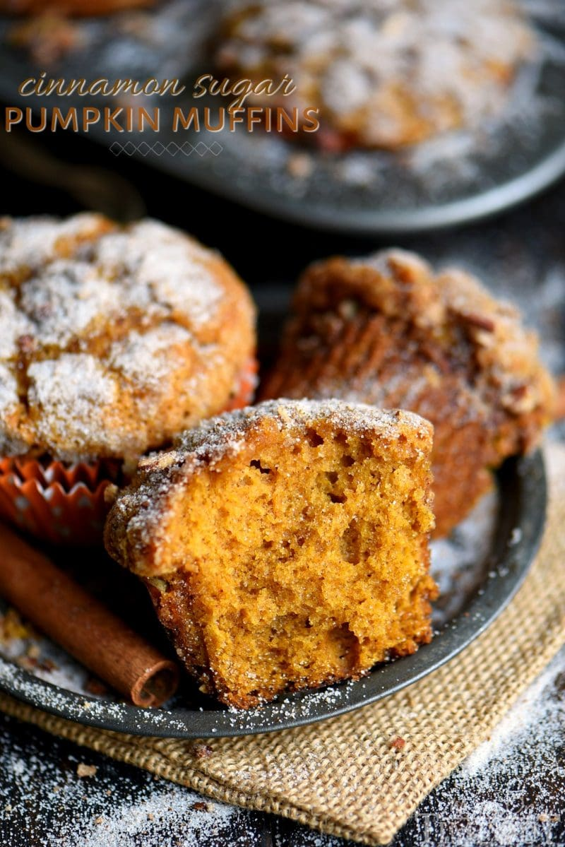 pumpkin muffins with cinnamon sugar pecan topping on plate