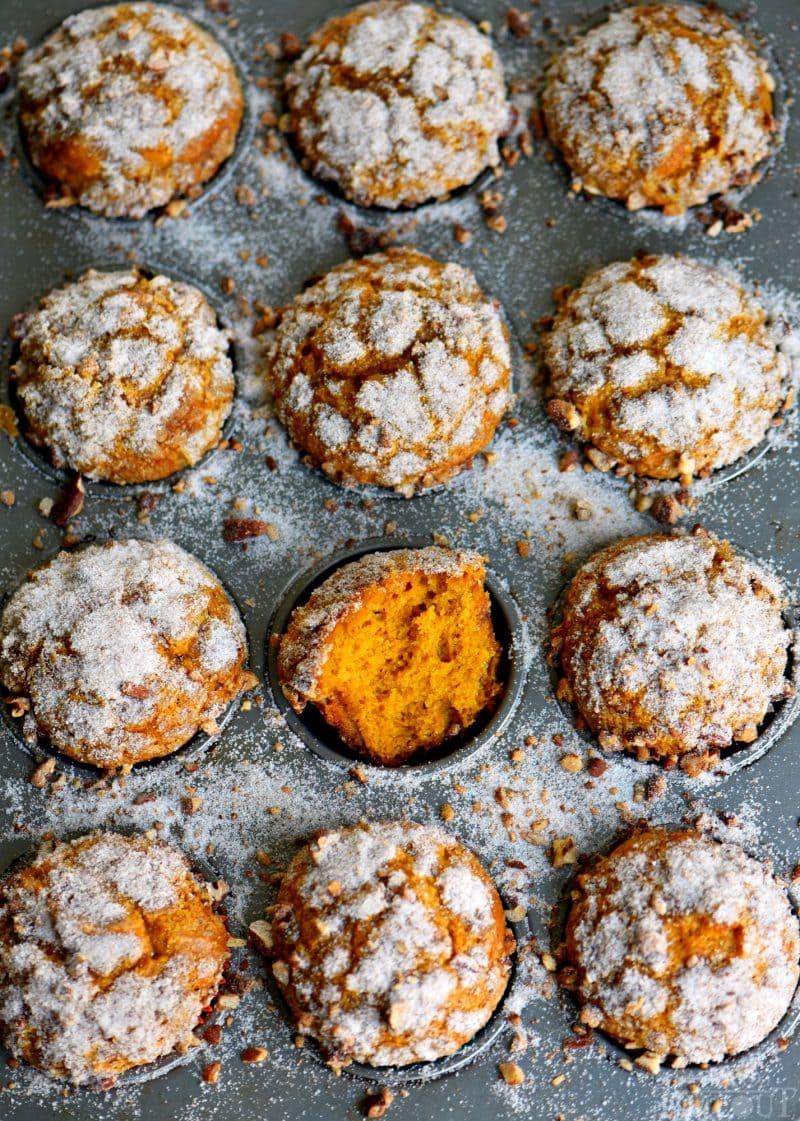 muffin tin full of pumpkin muffins