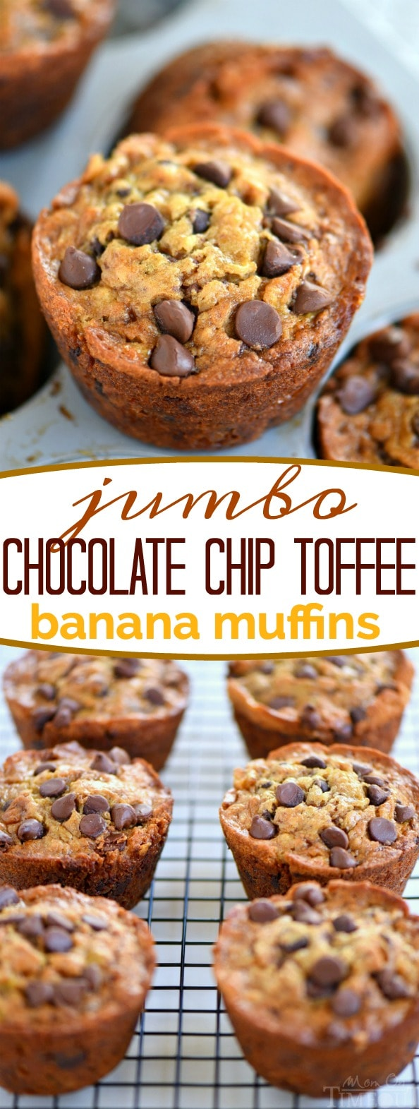When life gives you ripe bananas - make muffins! These Jumbo Chocolate Chip Toffee Banana Muffins are incredibly moist and just loaded with flavor! Chocolate and banana go together so well in these delicious muffins! // Mom On Timeout