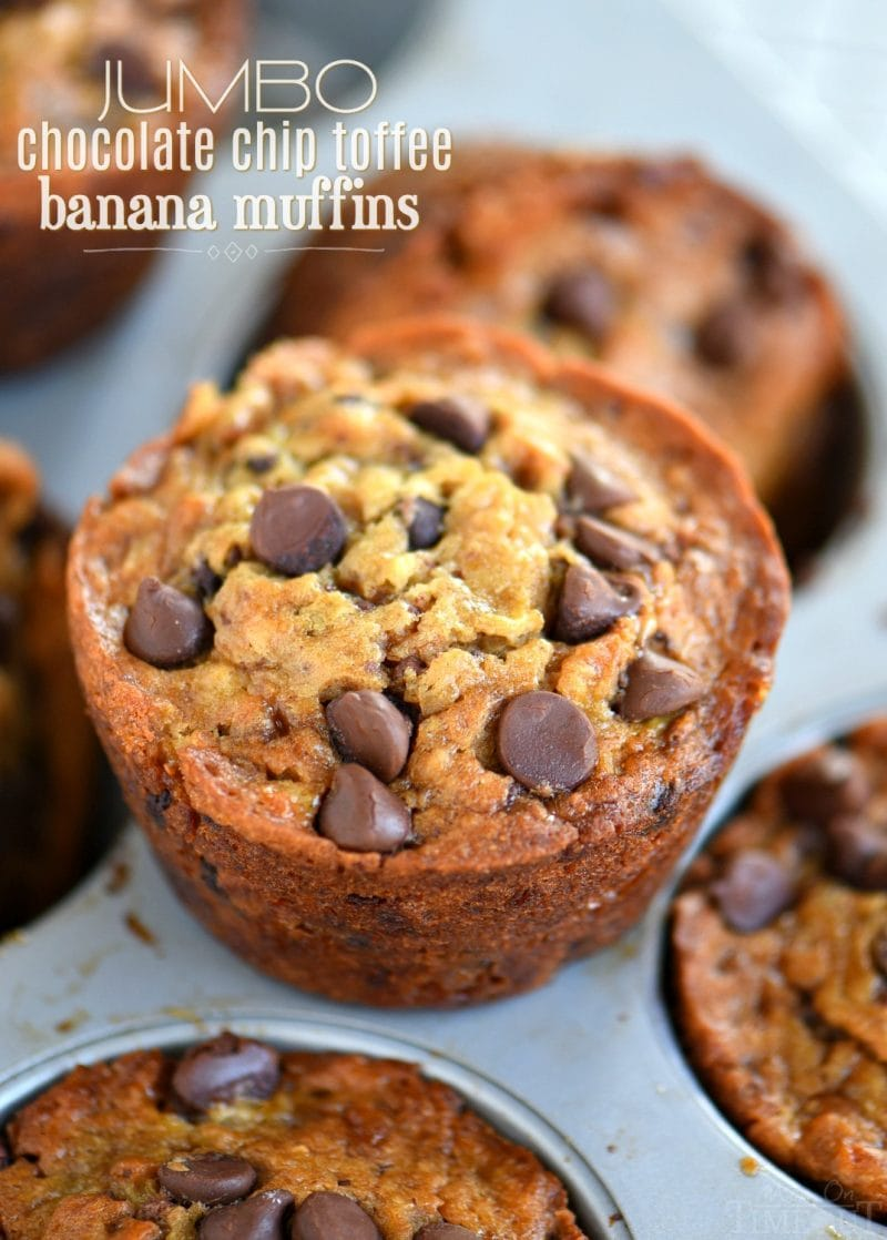 When life gives you ripe bananas - make muffins! These Jumbo Chocolate Chip Toffee Banana Muffins are incredibly moist and just loaded with flavor! // Mom On Timeout