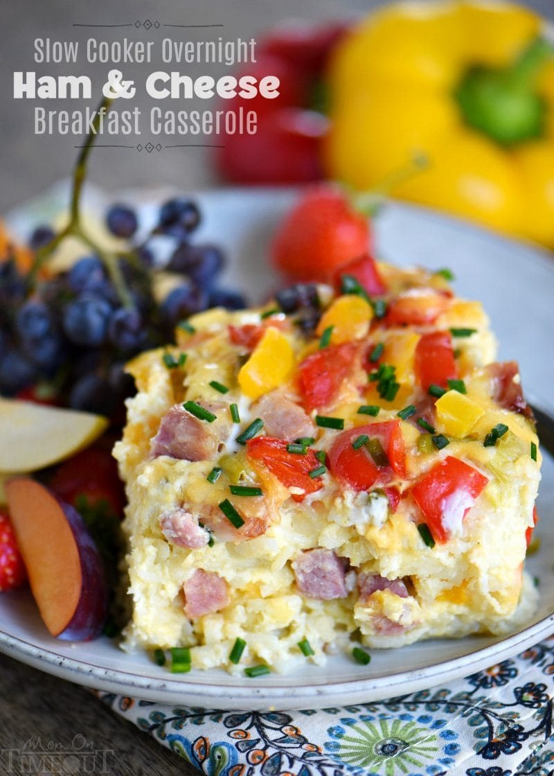 This Slow Cooker Overnight Ham and Cheese Breakfast Casserole is a great way to start your day! Loaded with ham, cheese, potatoes, bell peppers, and more, this casserole is perfect for busy weekday mornings, holidays, or brunch! // Mom On Timeout
