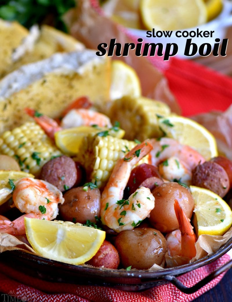 This easy Slow Cooker Shrimp Boilis the perfect busy weeknight dinner recipe! Made with just a handful of ingredients and exploding with delicious, fresh flavor, it's sure to become an instant favorite with your family – it certainly was with mine! // Mom On Timeout