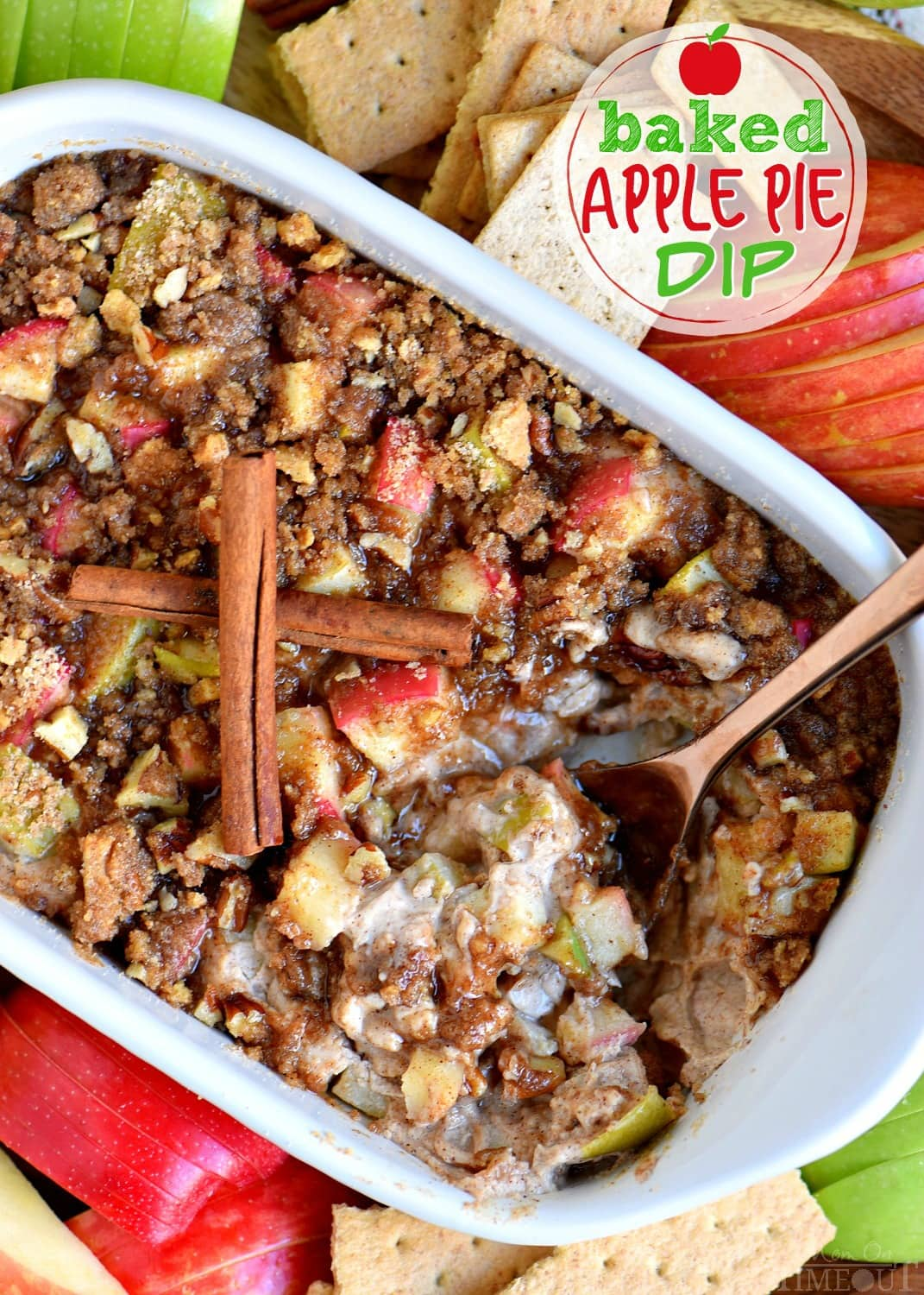 This easy Baked Apple Pip Dip is loaded with apples and spices! Paired with WHEAT THINS Snacks and HONEY MAID Grahams are perfect for a party, after-school snack or easy dessert. This is one recipe I plan on making every chance I get! // Mom On Timeout #ad