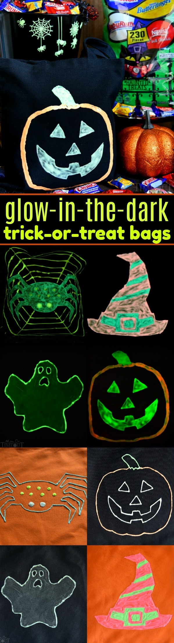 Make this Halloween the best yet with these DIY Glow-in-the-Dark Trick-or-Treat Bags featuring your favorite Nestlé candies! Fun, easy, and spook-tacular! // Mom On Timeout #halloween #trickortreat #craft #ad