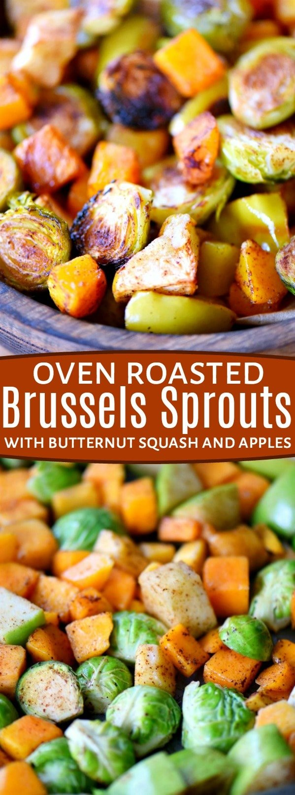 Oven Roasted Brussels Sprouts with Butternut Squash and Apples are liberally spiced with ground cinnamon and chili powder for a fantastic explosion of flavor. An easy side dish that is perfect for any night of the week. Whole30 compliant. // Mom On Timeout #roasted #vegetables #veggies #Brusselssprouts #butternutsquash #apples #recipe #fall #Thanksgiving #christmas #sidedish