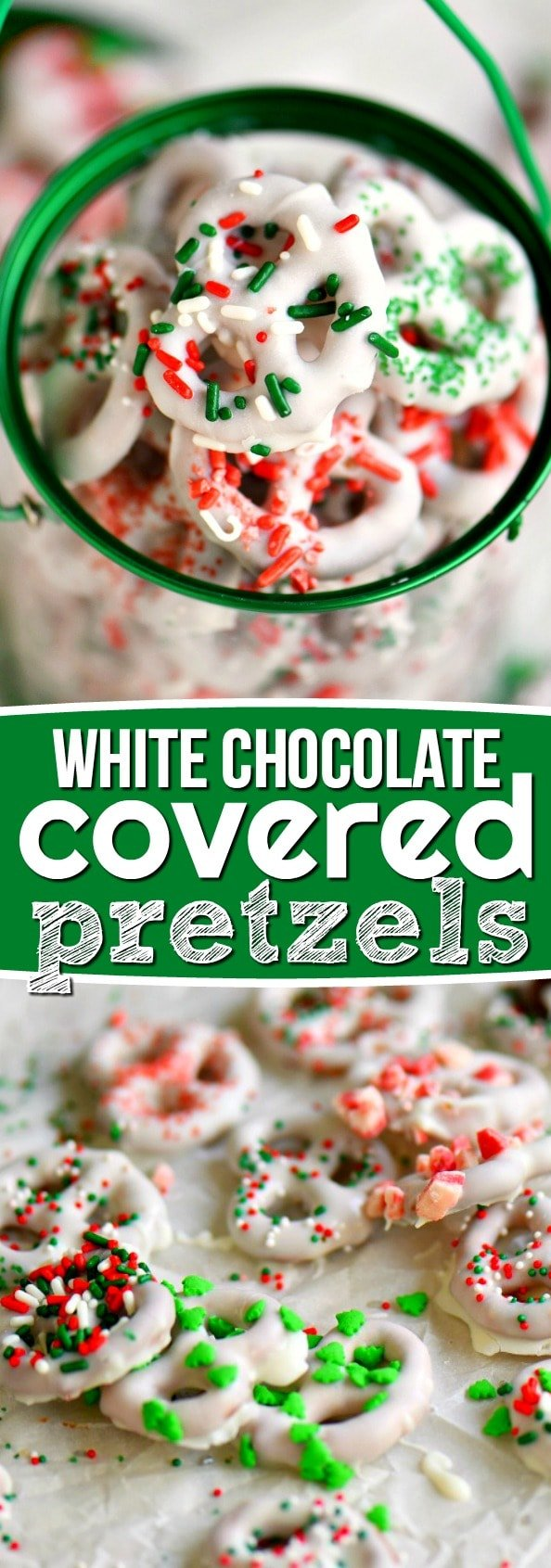 Step by step instructions for the perfect easy White Chocolate Covered Pretzels! Learn how to get perfectly dipped pretzels every time! Decorate with your favorite sprinkles and candies for a holiday treat everyone will love! // Mom On Timeout #pretzels #candy #recipe #Christmas #holidays